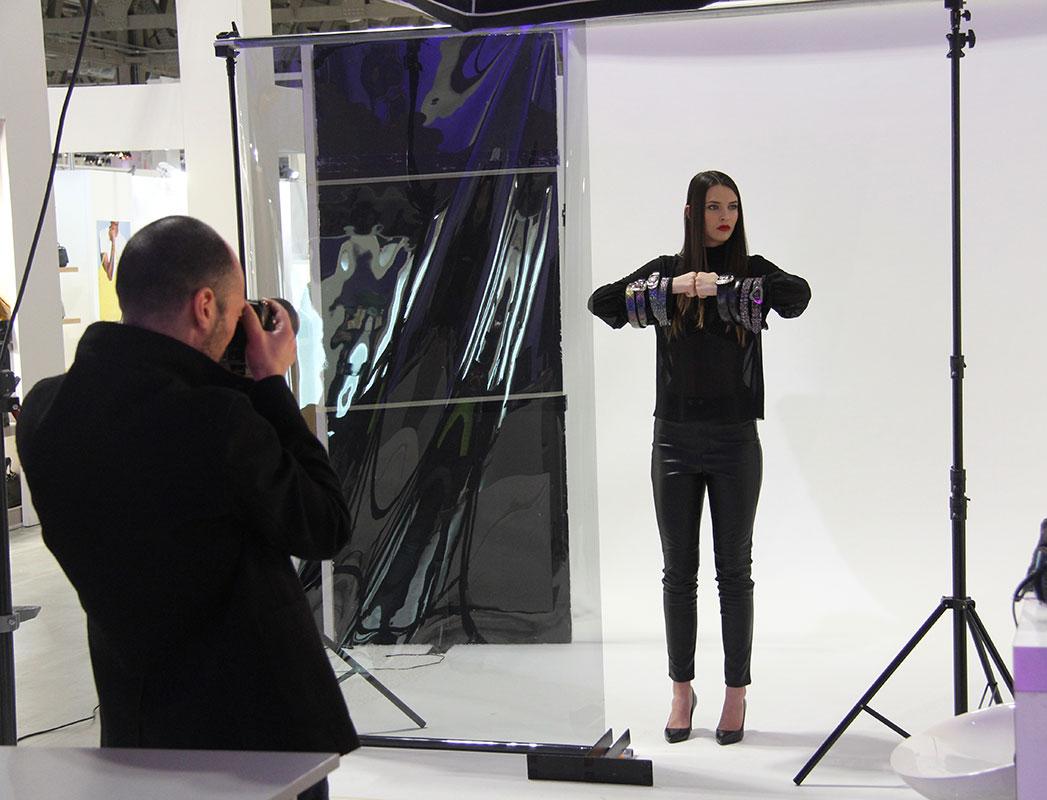backstage shooting model mipel tradeshow