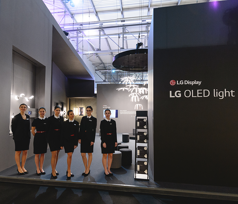 hostess salone del mobile stand lg oled