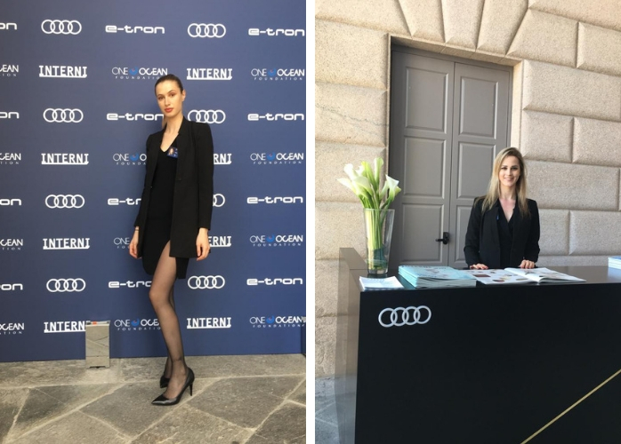 welcomign hostess audi fuorisalone