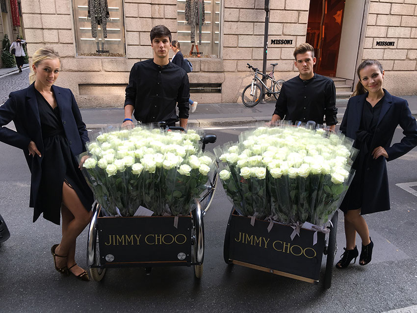 welcoming hostess and hosts jimmy choo milan